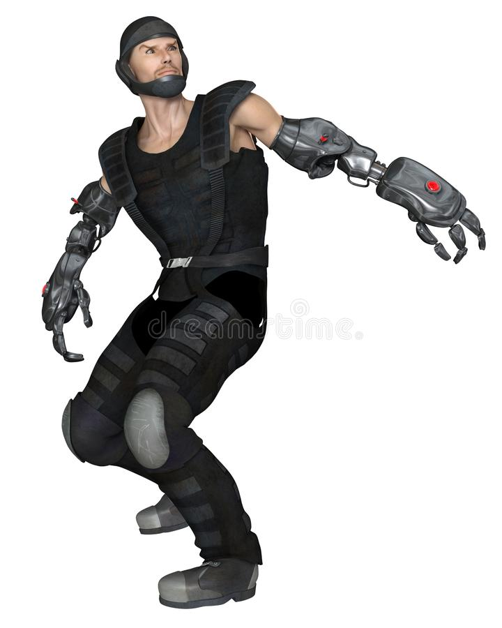 Male Cyber Soldier Turning in Surprise. Science fiction illustration of a future male soldier with cyber arms turning in surprise, 3d digitally rendered stock illustration