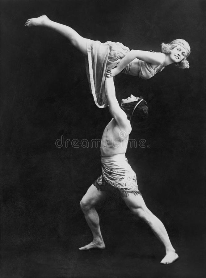 Male dancer holding female dancer aloft. (All persons depicted are no longer living and no estate exists. Supplier grants that there will be no model release royalty free stock images