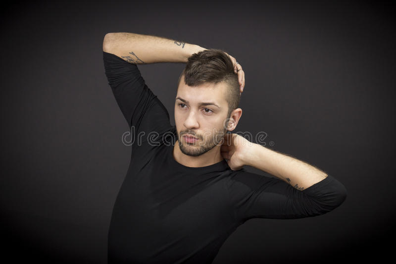 Male dancer posing. stock images