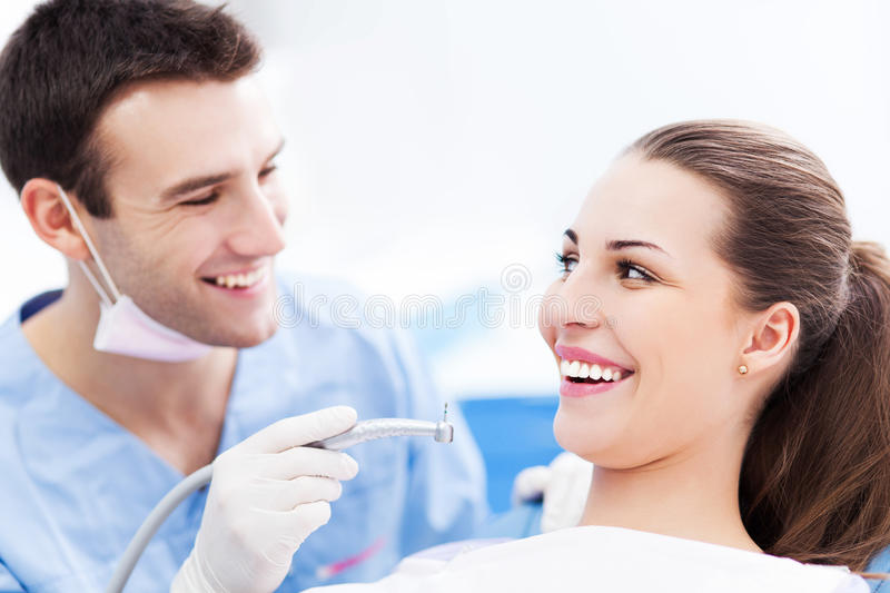 Male dentist and woman in dentist's office stock images