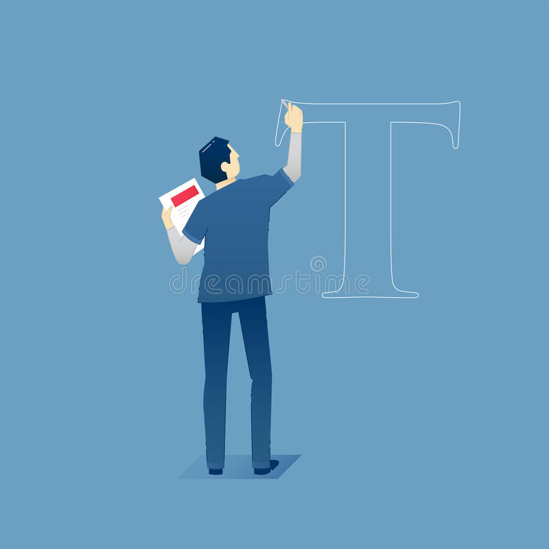 Male designer draws a letter. Vector illustration of male designer standing and drawing a letter. Vector concept for banners, infographics or landing pages of vector illustration