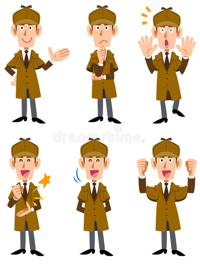 Free Male Detective 6 Sets Of Facial Expressions And Gestures 2 Stock Photography - 138414072