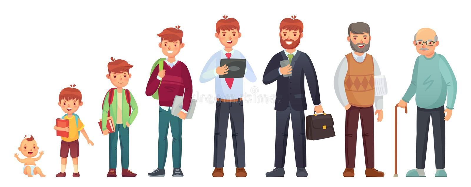 Male different age. Newborn baby, teenage boy and student ages, adult man and old senior. People generations vector vector illustration