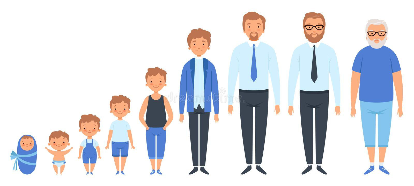 Male different ages. Newborn teenage boy man person old grandfather adult peoples vector clipart isolated royalty free illustration