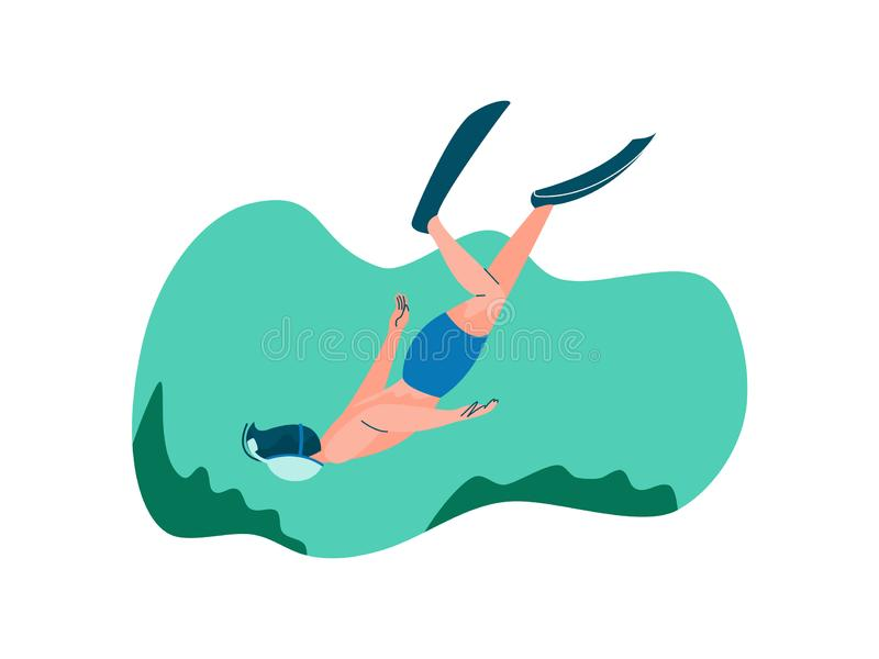 Male Diver with Scuba and Flippers Diving in Sea, Man Doing Sports and Relaxing on Beach, Summer Outdoors Activities. Vector Illustration on White Background stock illustration