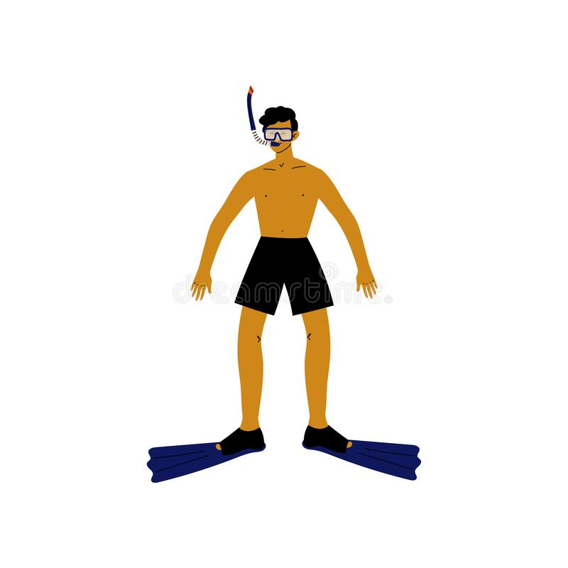 Male Diver with Scuba and Flippers, Guy Relaxing on Beach on Summer Vacations Vector Illustration. On White Background vector illustration