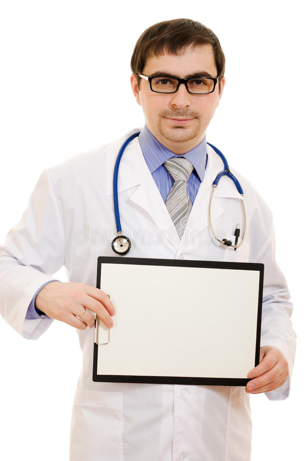 Male Doctor With A Blank Sheet Of Paper Stock Photography