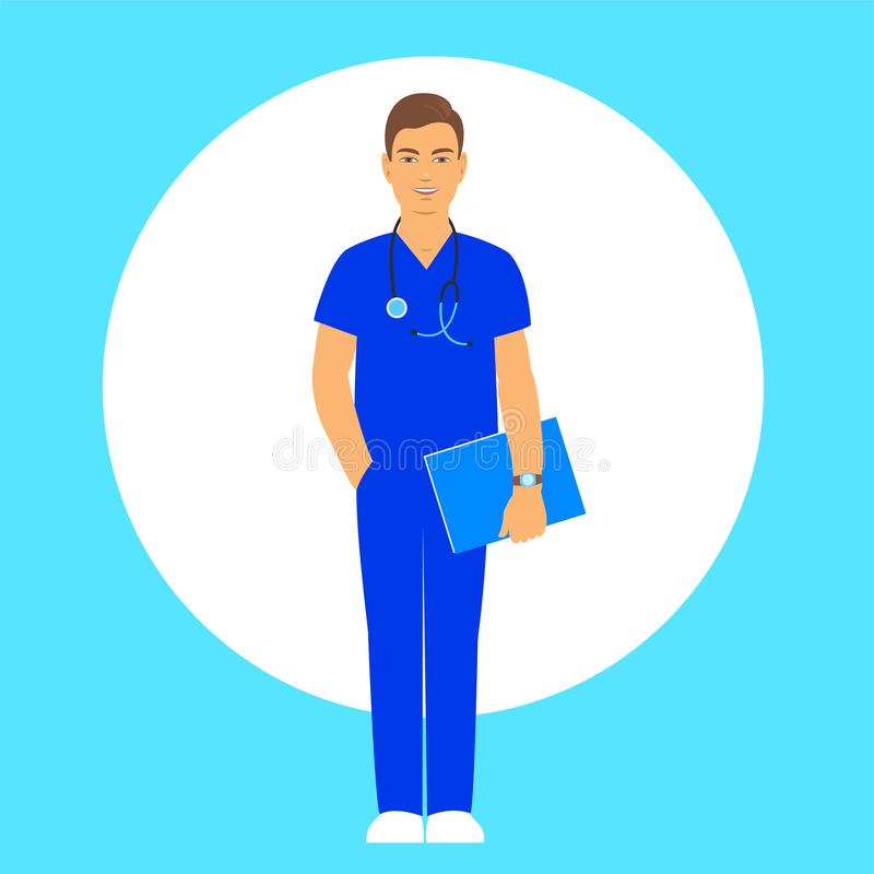 Male doctor in a blue suit vector illustration