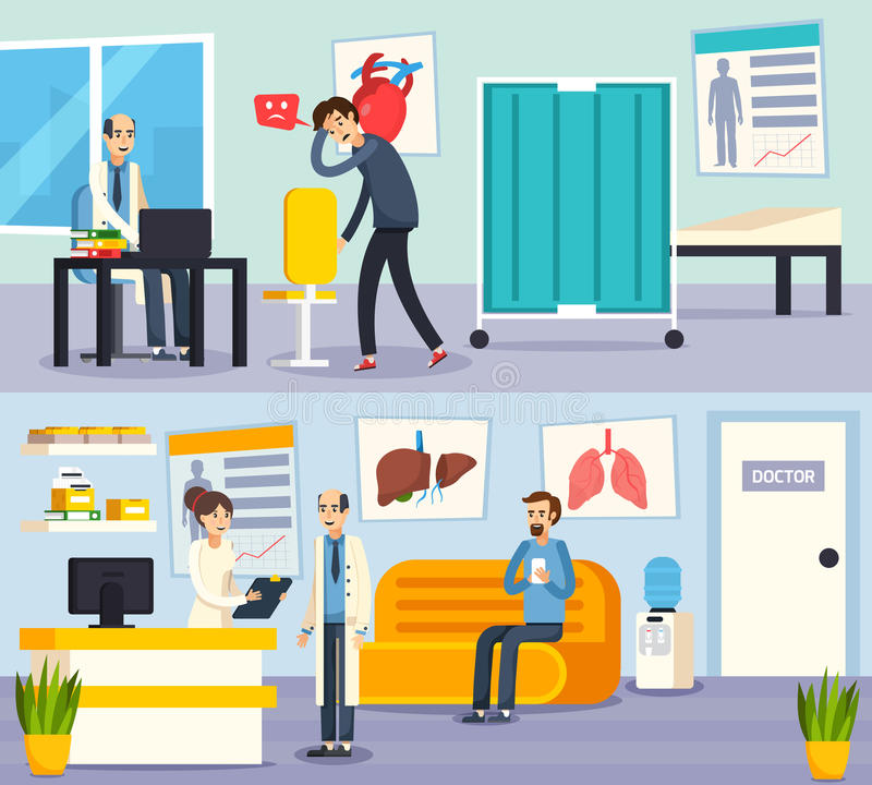 Male Doctor Character Flat Compositions vector illustration