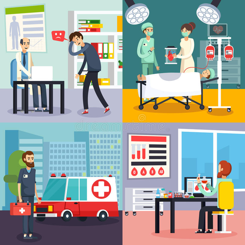 Male Doctor Character Flat Icon Set stock illustration