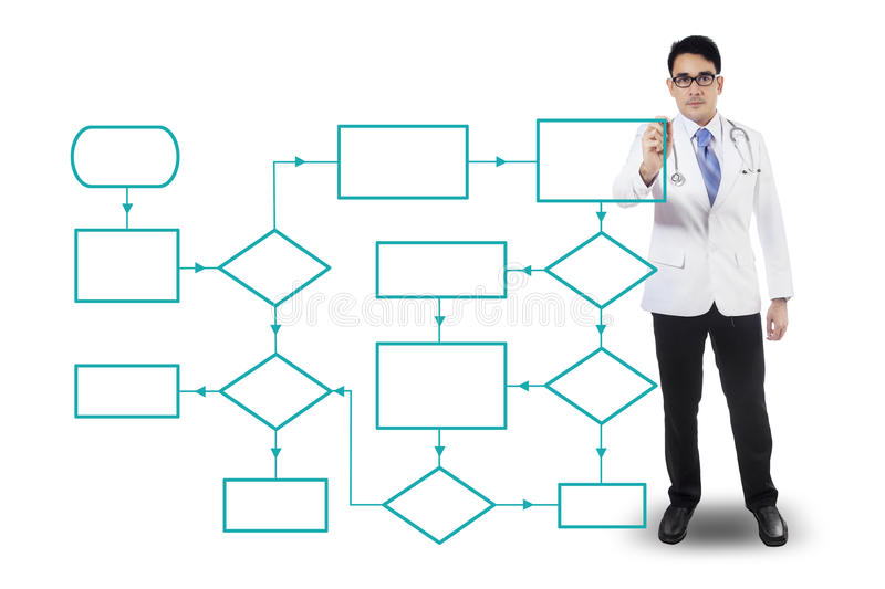 Male doctor drawing flowcharts. Portrait of a male doctor drawing empty flowcharts, isolated on white background stock photos