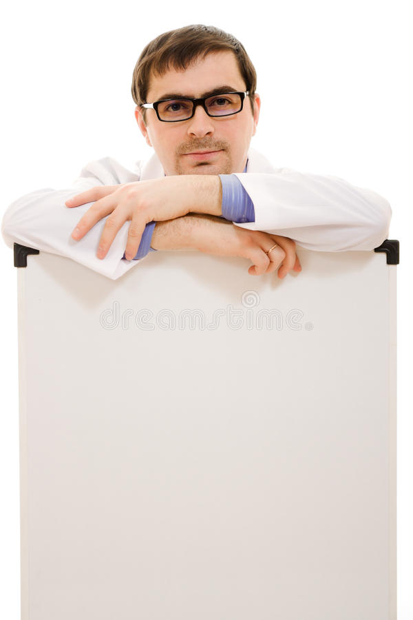 Download Male Doctor In Glasses With A White Board Stock Photo - Image: 24622850