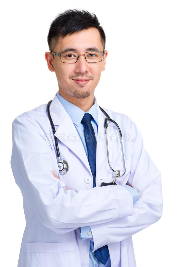 Male doctor portrait. Isolated on white background stock photos