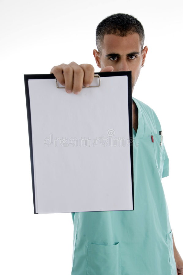 Male doctor showing notepad royalty free stock photography