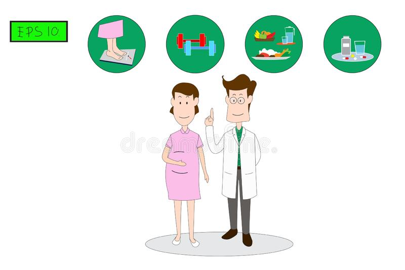The male doctor stands to explain to women, Precautions to prevent gestational diabetes Inertia. The male doctor stands to explain to women.Precautions to vector illustration
