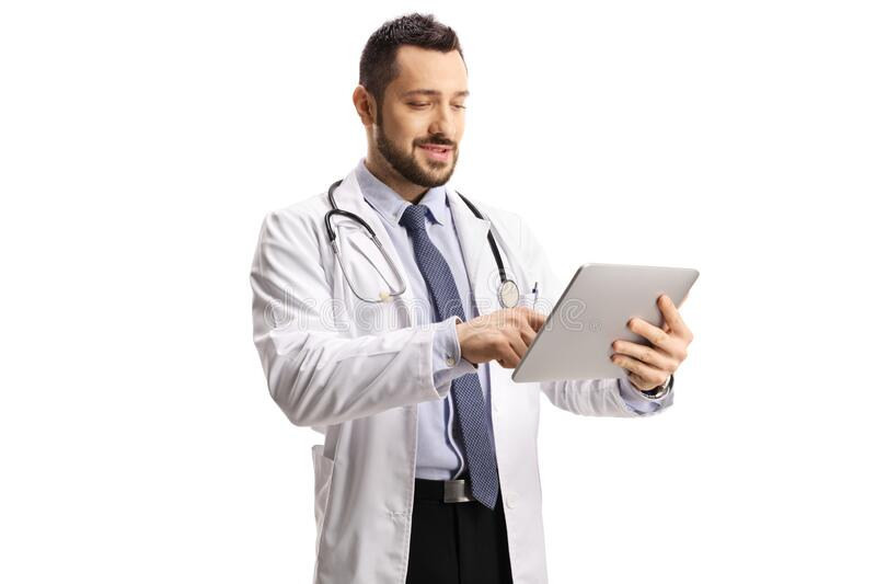 Male doctor using a digital tablet royalty free stock photos