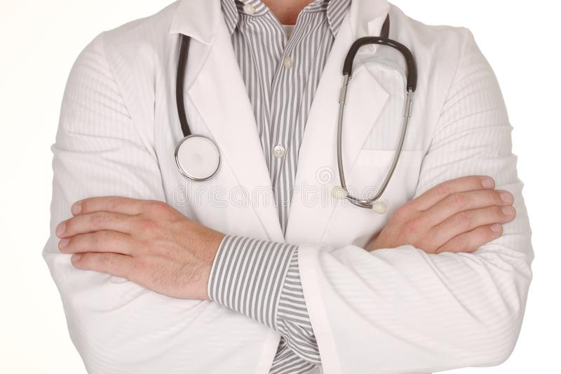 Male Doctor Wearing Stethoscope on White Background stock photo