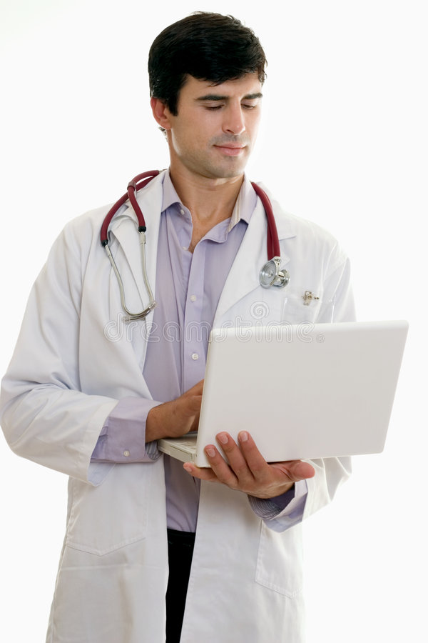 Free Male Doctor With Laptop Computer Royalty Free Stock Photography - 945027