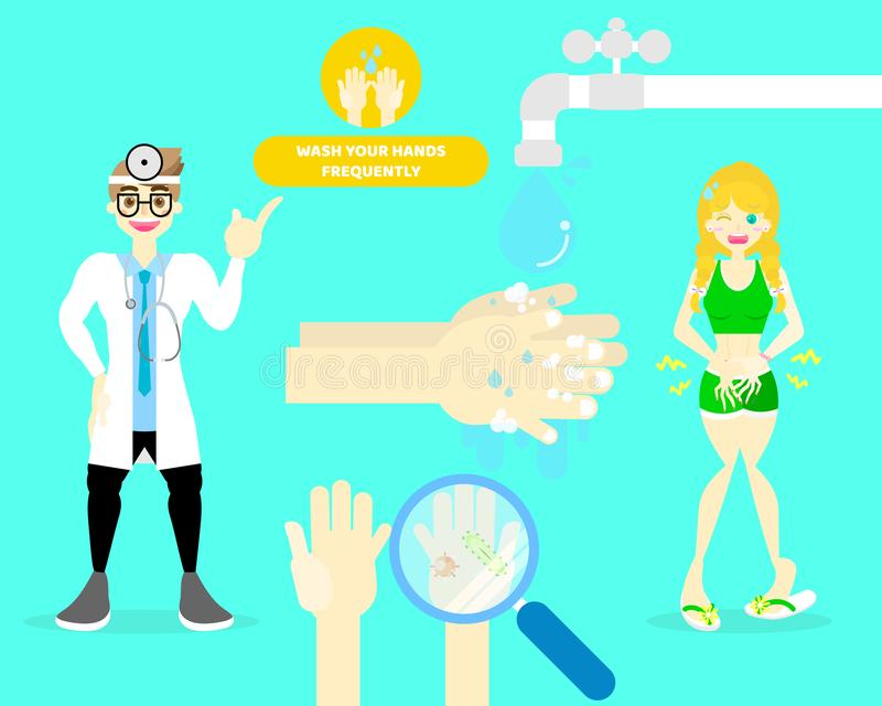 Male doctor with woman touching his belly having stomachache, washing hands, health care infographic concept. Background, illustration cartoon flat character royalty free illustration