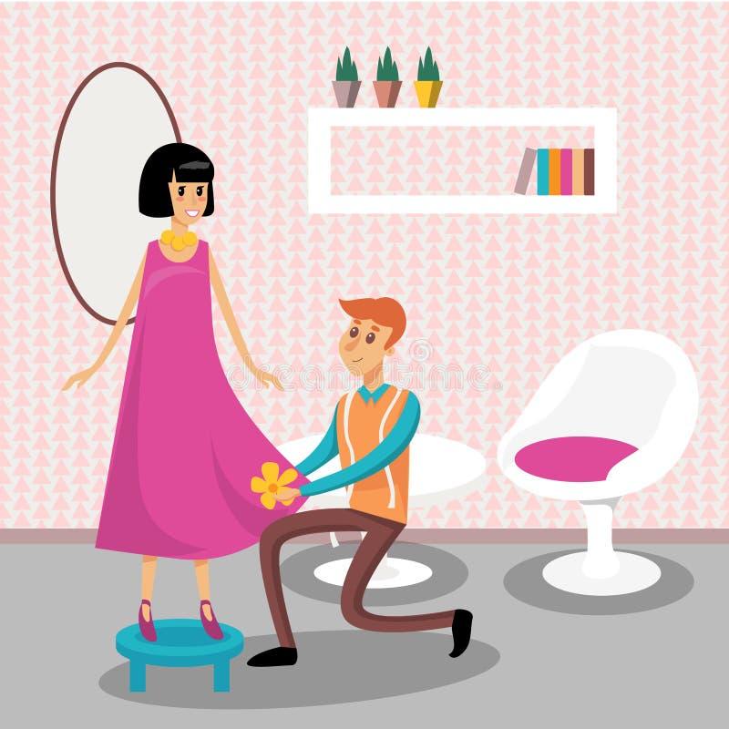 Male dressmaker serving his client vector illustration, royalty free illustration