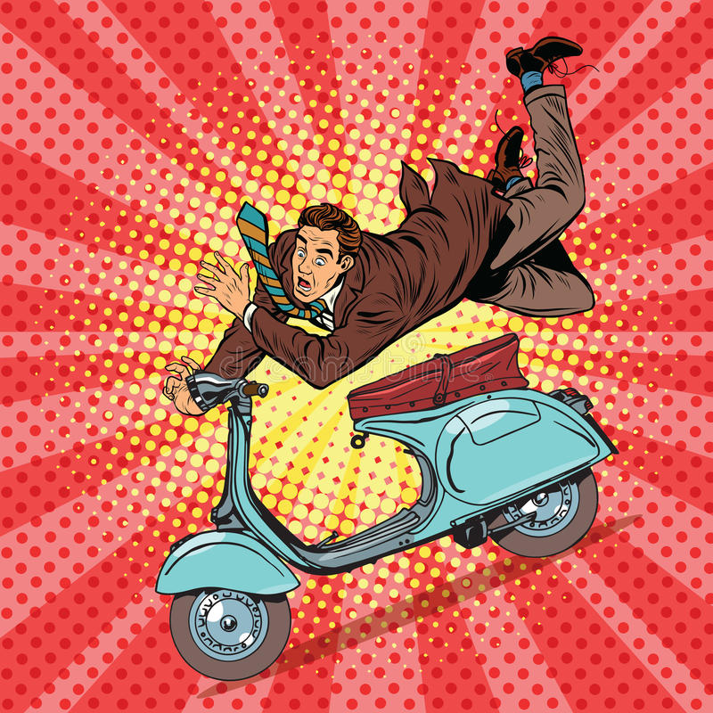 Male driver accident on the scooter royalty free illustration