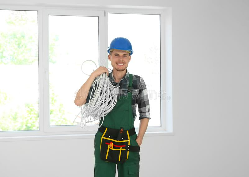 Male electrician in new flat royalty free stock photos