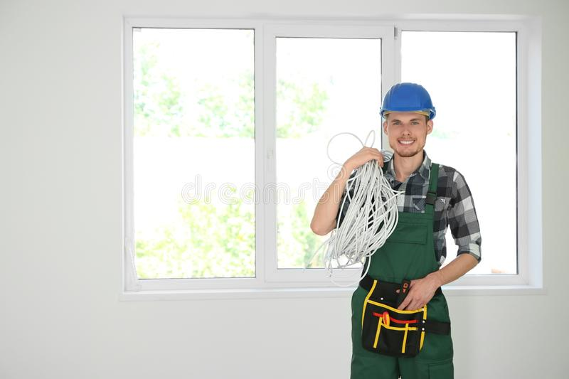 Male electrician in new flat stock images