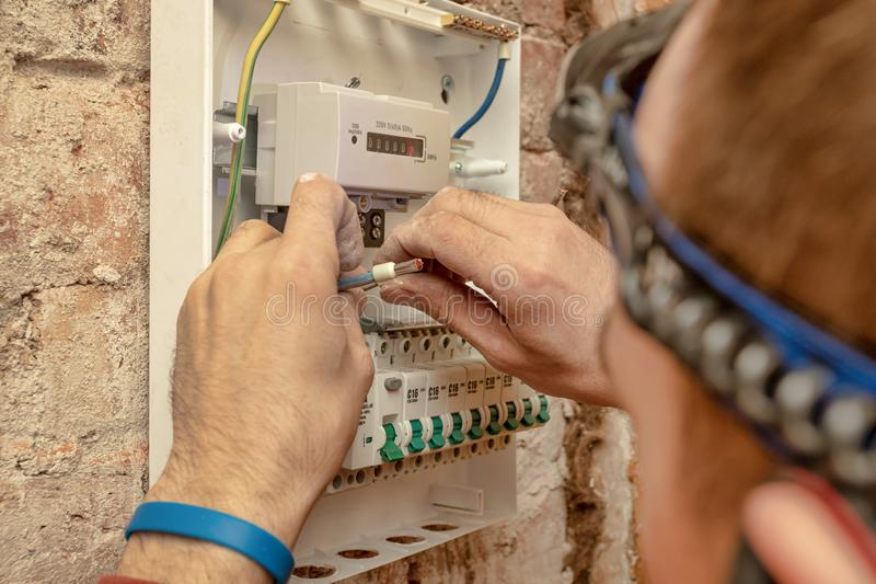 Close-Up Of Electrician Work stock photography