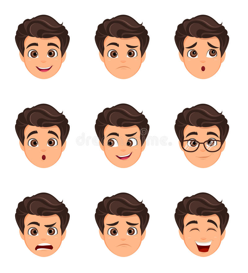 Free Male Emotions Set. Facial Expression. Cartoon Character With Var Royalty Free Stock Photos - 96835868