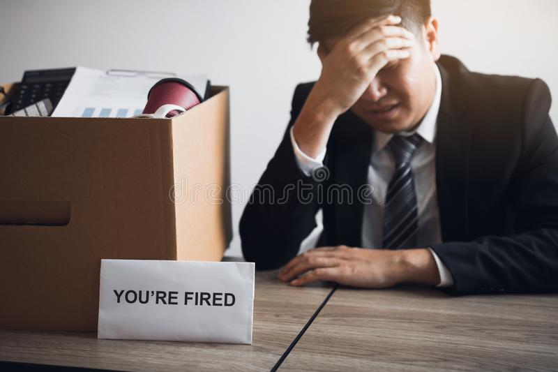 Male employee is stressed or angry while he is fired from being an employee of the company royalty free stock photos