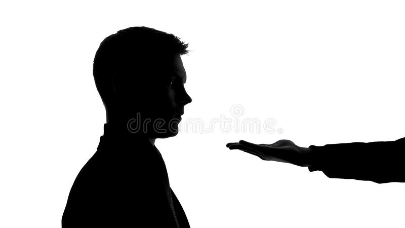 Male empty hand in front businessman face, asking money, bribe extortion, credit stock image