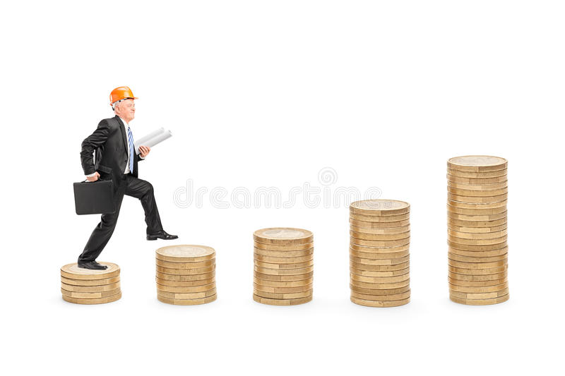 Download Male Engineer With Blueprints Walking Stock Photo - Image: 29396792