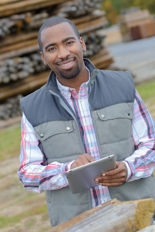 Male engineer with digital tablet stock photos