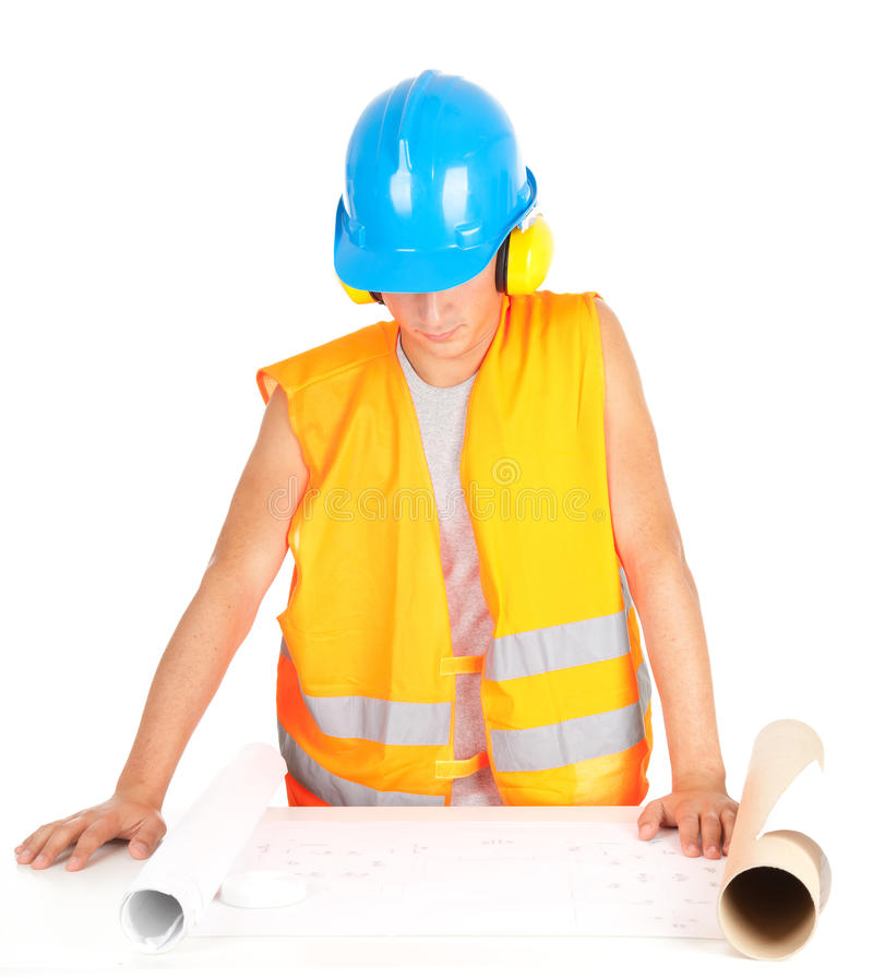 Male Engineer Looking At Blueprints Royalty Free Stock Image