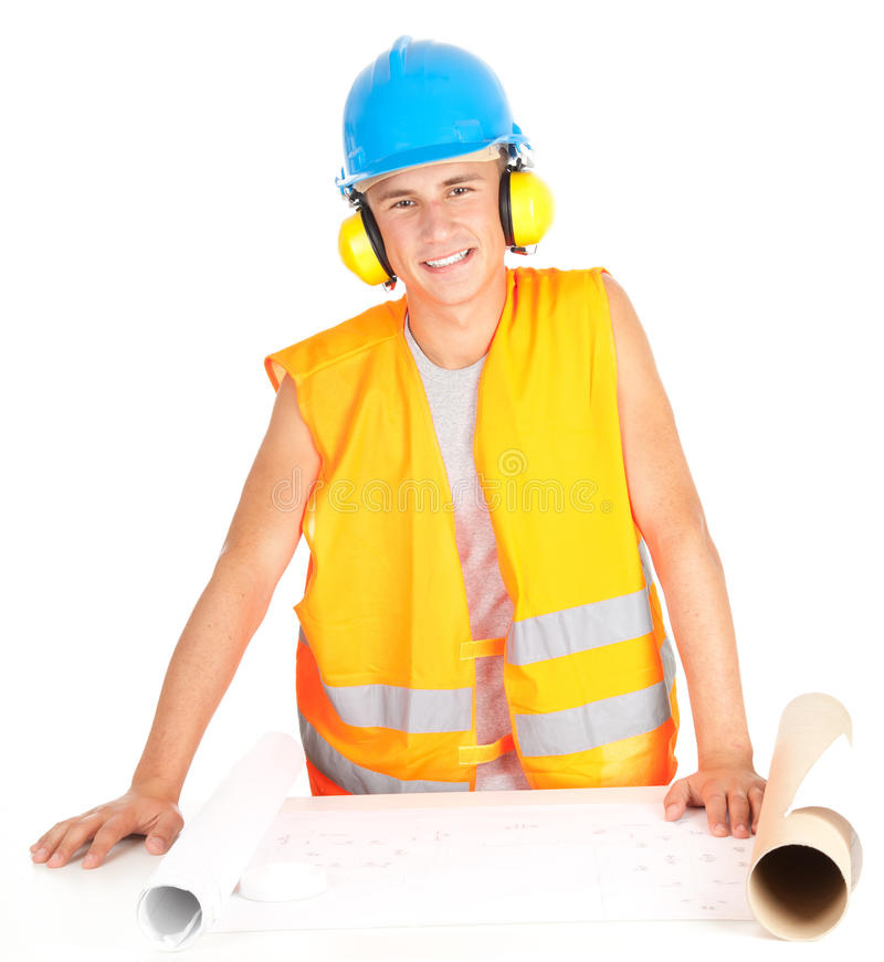 Download Male Engineer Looking At Blueprints Stock Photo - Image: 21778818