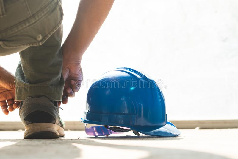 Male engineers are preparing to work in construction work stock photo