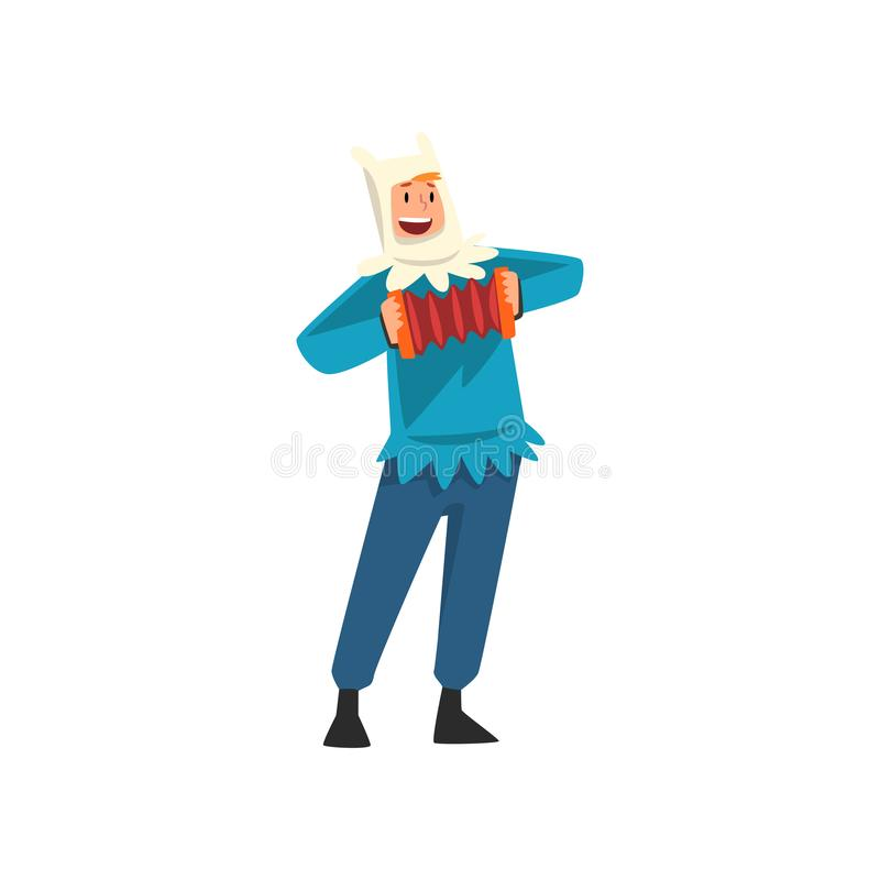 Male Entertainer in Festive Costume Playing Accordion Vector Illustration. On White Background vector illustration