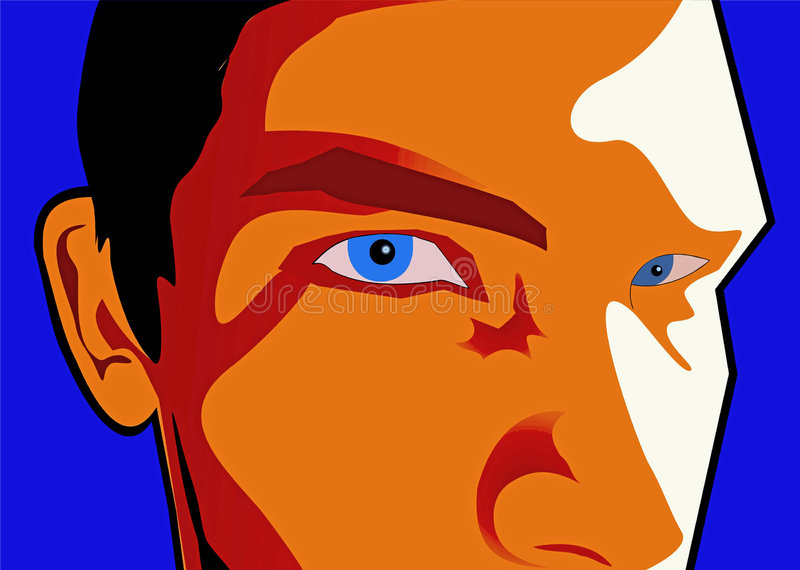 Male face cartoon. Boy face with blue eyes and black hair stock illustration