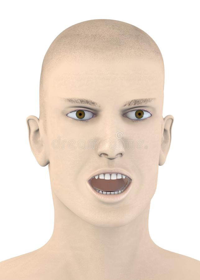 Male face with opened mouse stock illustration