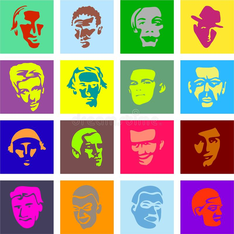 Male face tiles vector illustration