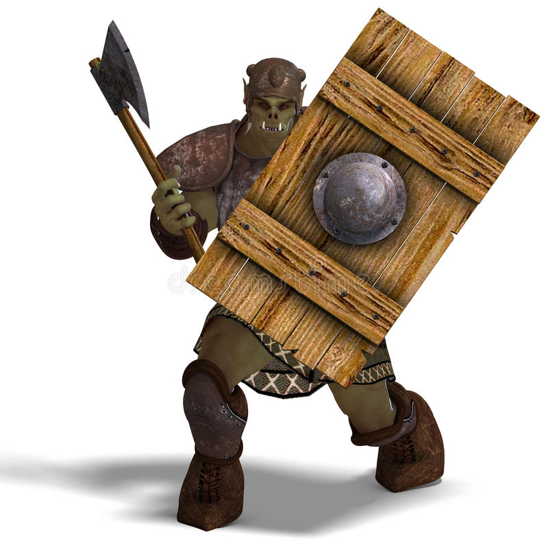 Free Male Fantasy Orc Barbarian With Giant Axe Stock Photos - 15346323