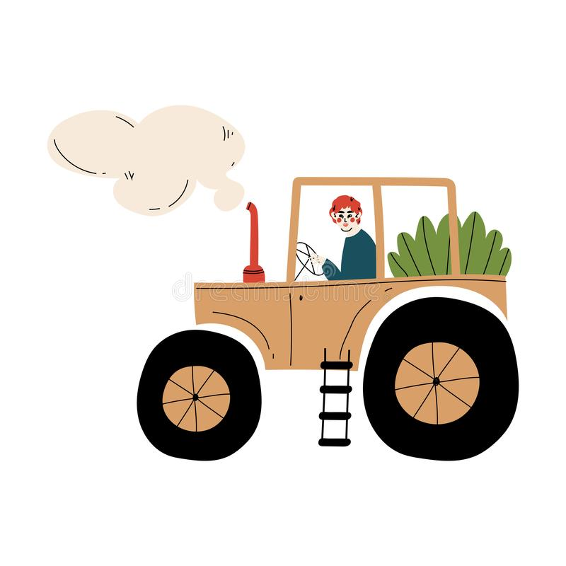 Male Farmer Driving Tractor with Seedlings Agricultural Worker at Farm Vector Illustration. On White Background stock illustration