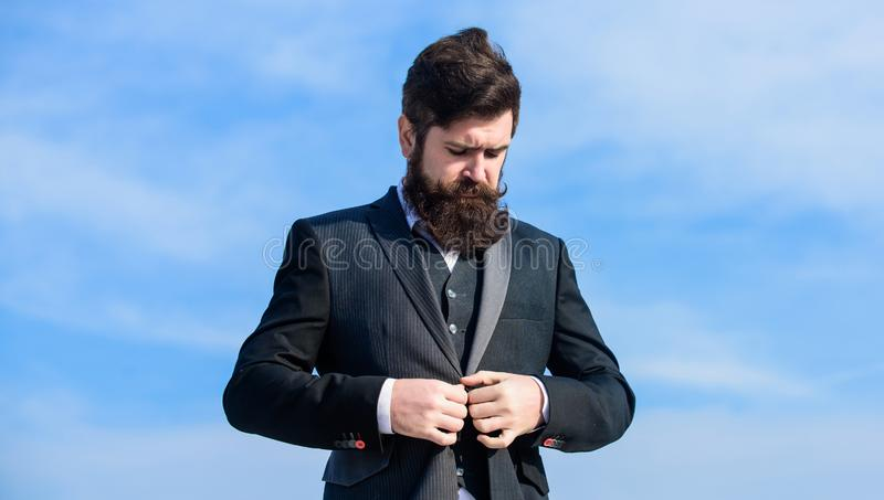 Male fashion formal menswear. Fashion trend. Guy beard and mustache wear formal clothes. Just right. Businessman bearded stock photography