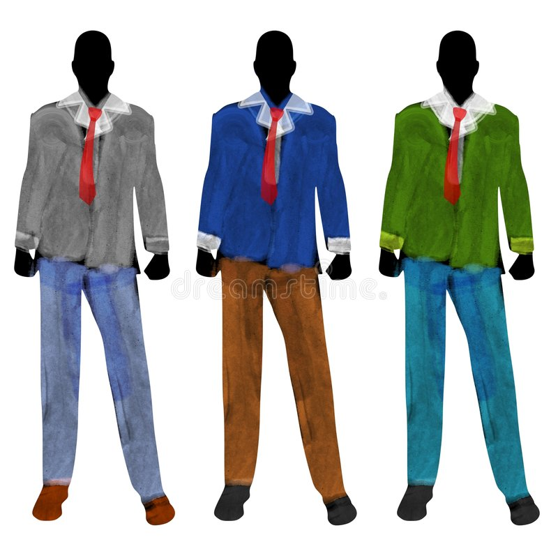 Male Fashion Mannequin Silhouettes royalty free illustration
