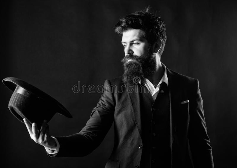 Male fashion and menswear. Formal suit classic style outfit. Elegant and stylish hipster. Retro fashion hat. Man with. Hat. Vintage fashion. Man well groomed stock images