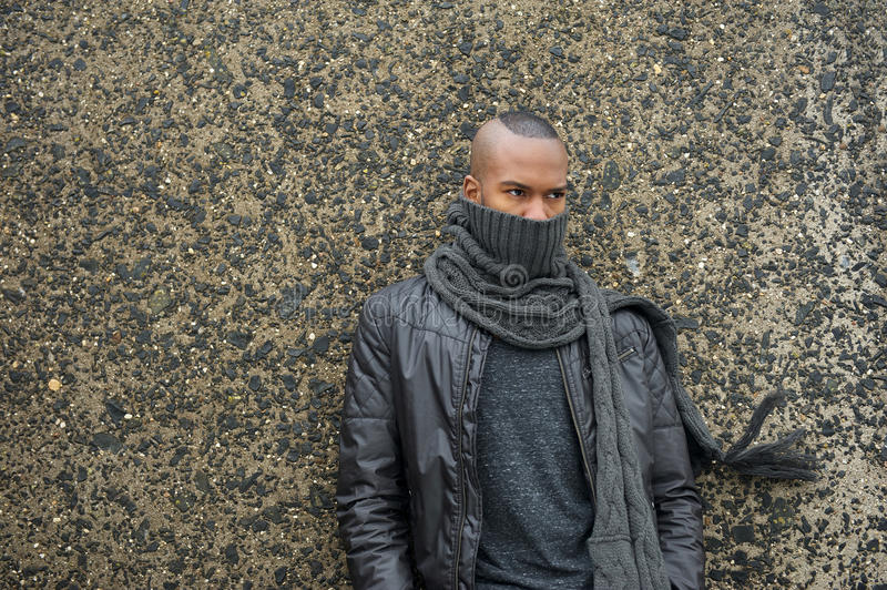 Download Male Fashion Model With Scarf And Leather Jacket Stock Photo - Image: 33463544