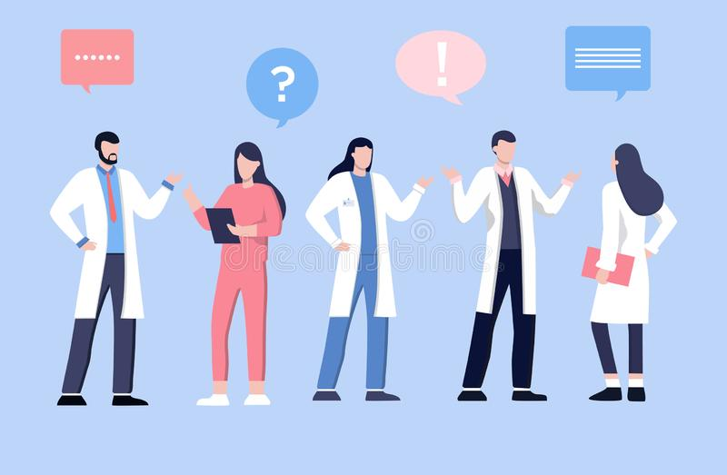Male and feamle doctor talking with patients. Healthcare services, Ask a doctor. Therapist in uniform with stethoscope. vector illustration