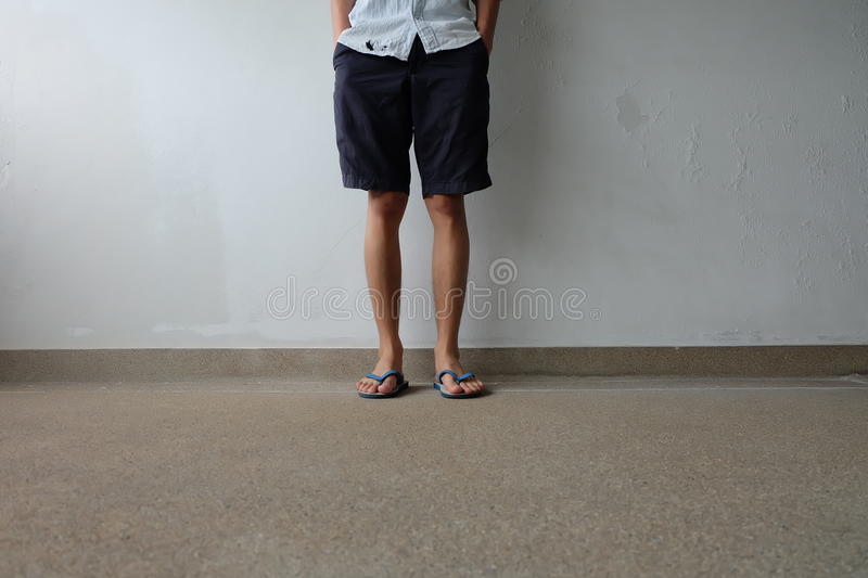 Male Feet Selfie Wearing Sandals Standing on Concrete Floor. Great For Any Use stock image