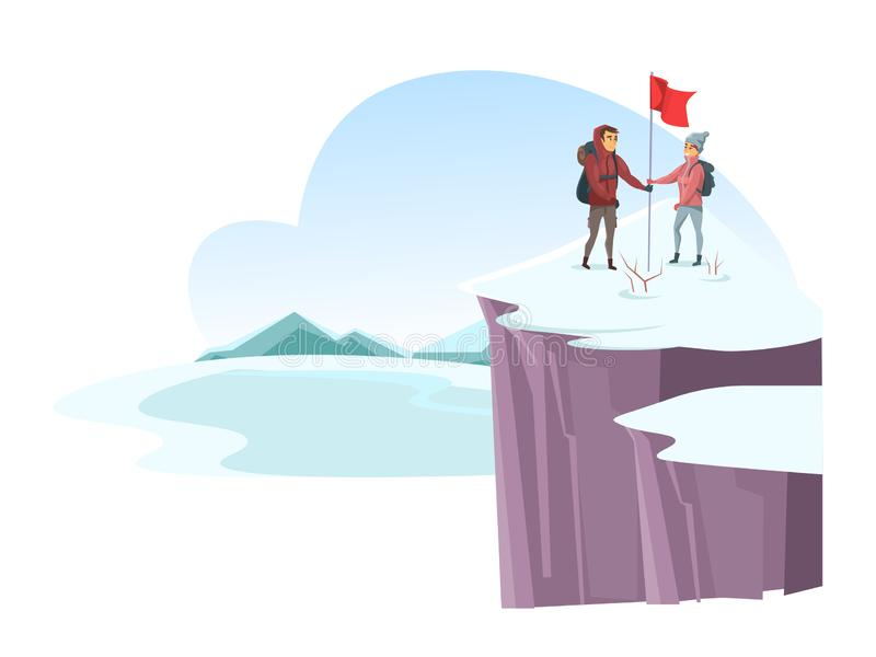 Male and female alpinist mountaineer on cliff top stock illustration