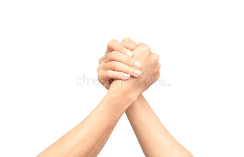 Male and female arm wrestling on the white background.  stock photos